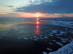 北海道の流氷の空撮