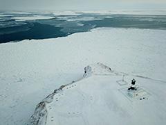 能取岬の流氷の空撮