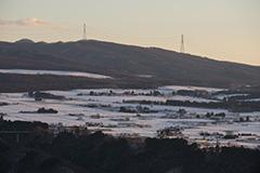 冬の赤城高原の夕景