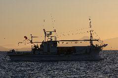 冬のスケソウ漁の夜明け