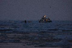 冬の流氷観光船の夜明け