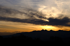 冬の榛名山の夕景