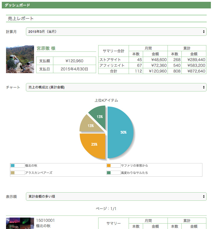 ダッシュボード/売上レポート